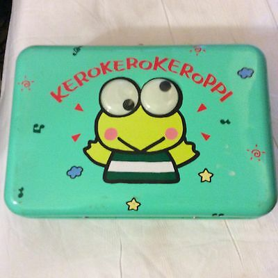 KEROKERO KEROPPI TIN BOX Vintage 1990 SANRIO METAL BOX WITH HANDLE
