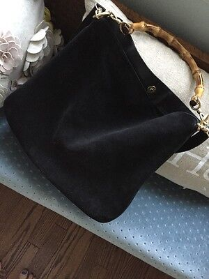 22974f031a5 Gucci Black Suede Leather Bamboo Handle Hobo Bag With Detachable Crossbody  Strap
