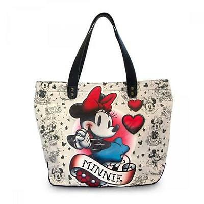 NWT Loungefly Minnie Mouse Flash Tattoo Appliqued Tote Bag
