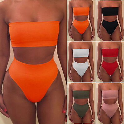 Women's strapless Bandeau Bathing Swimsuit High Waist Swimwear Swim Bikini Set