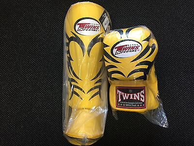 Twins 1 pair Shin Guard Pads Size M+ 1 pair of matching Twins Gloves 12oz  RARE!
