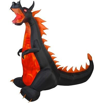 Halloween Inflatable 7' X 7.5' Dragon with Flaming Mouth By Gemmy