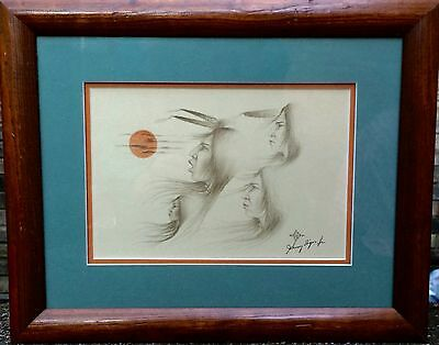 Johnny Tiger Hand Signed And Framed Print Creek Native American