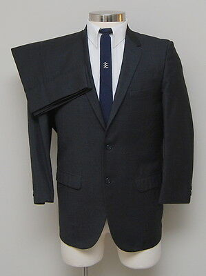 Vintage 1960s Mens 38R Brent 2 Piece Charcoal/Blue/Brown Wool Suit