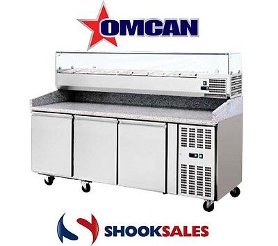 "Omcan 41145 Commercial Restaurant 80"" Stainless Steel Granite Top Pizza Table NY"
