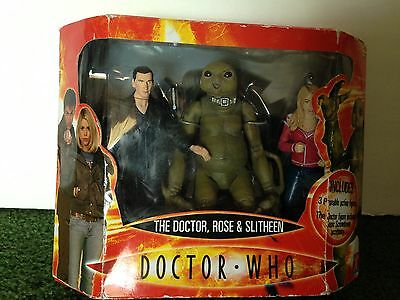 Doctor Who The Dr Rose & Slitheen Poseable Action Figure Set Of 3 New