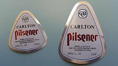 2x Carlton Pilsener Beer Labels