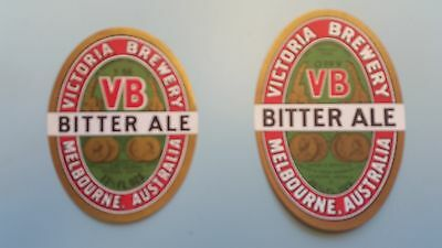2x Victoria Bitter Beer Labels