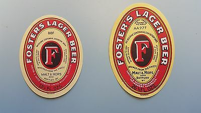 2x Fosters Lager Beer Labels