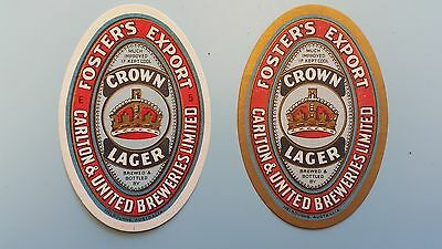 2x Fosters Export Crown Lager Beer Labels