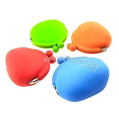 Color Portable Rubber Silicone Soft Eco-Friendly Coin Purse Money Bag Wallet LOT