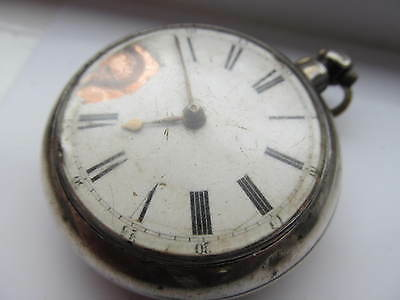 Large Antique English silver fusee pair cased pocket watch W Morrice London 1847
