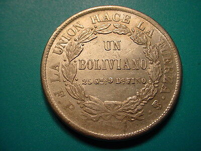 Bolivia~Large Silver 1871 1-Boliviano in As Shown Condition!
