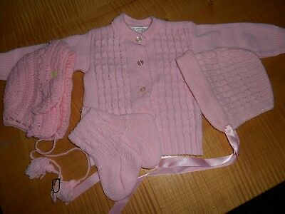 SWEET vtg 3 pc acrylc set pink sweater hat booties baby / doll extra bonnet 137