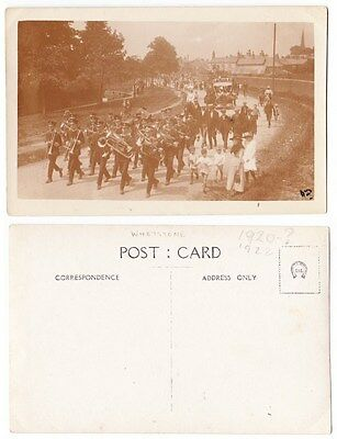 Early Postcard,Leicestershire? Whetstone Carnival, Band Marching, Old Houses, RP