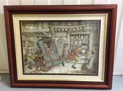 Vintage 3D framed painting - 'The Doctor' by Anton Pieck