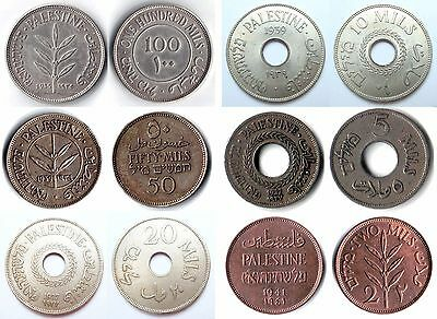 SET of Palestine British Mandate Rule Coins  100, 50, 20, 10, 5 and 2 Mils