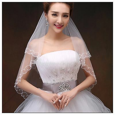 Bridal Wedding White Veil 2 Layer Elbow Beaded Pearl Double Edge With Comb