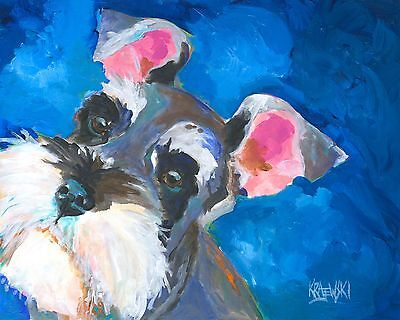 Miniature Schnauzer Art Print Signed by Artist Ron Krajewski Painting 8x10 Dog