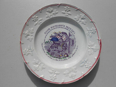 Old Antique Staffordshire Childs Plate Poor Richard's Maxims Three Removes...