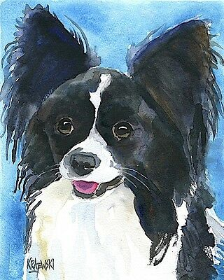 Papillon Art Print Signed by Artist Ron Krajewski Painting 8x10 Dog