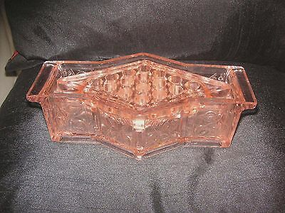 RARE 1930's PINK  BAGLEY ART DECO GUM LEAF PATTERN TROUGH VASE