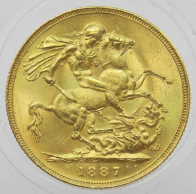 1887 Queen Victoria Great Britain 1 Sovereign Gold Coin .2354oz (#4175)