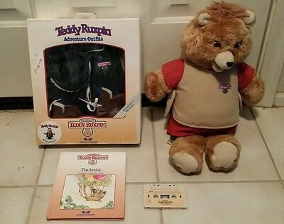 Vintage 1984-85 WOW Worlds of Wonder TEDDY RUXPIN talking bear tape book outfit
