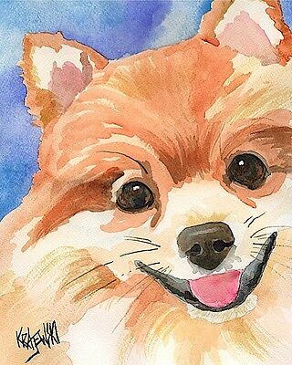Pomeranian Art Print Signed by Artist Ron Krajewski Painting 8x10 Dog