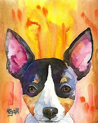 Rat Terrier Art Print Signed by Artist Ron Krajewski Painting 8x10