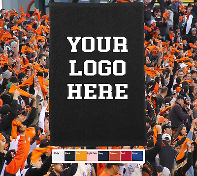 50 Custom Screen Printed Your Logo Rally Towels Terry Cloths 1 Side