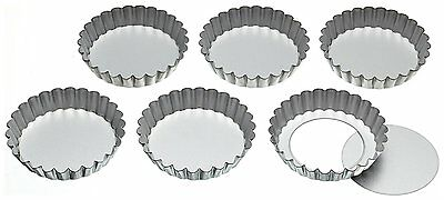 Kitchen Craft Set of Six 10cm Loose Base Tart Tins  * Brand New * fast Delivery