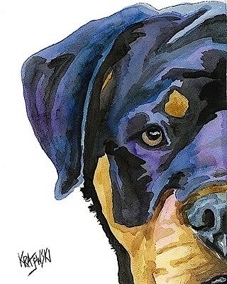 Rottweiler Dog 8x10 signed art PRINT RJK painting