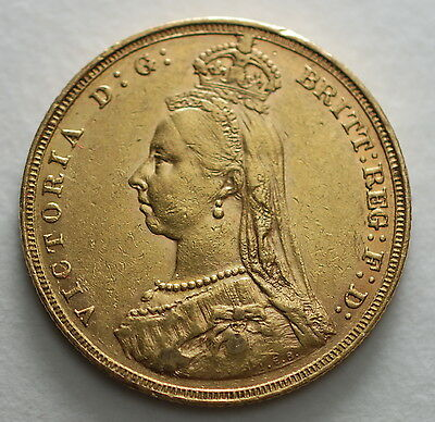 1887 M   AUSTRALIA Melbourne  MINT GOLD SOVEREIGN COIN