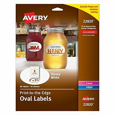 Avery Print To The Edge Oval Labels 2 x 3.3in ,Glossy White 80 Labels 22820