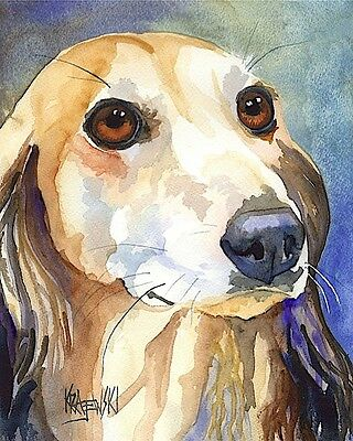 Saluki Art Print Signed by Artist Ron Krajewski Painting 8x10