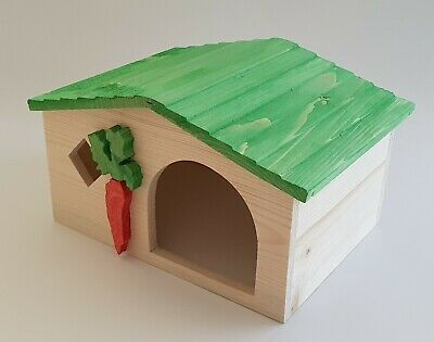 Wooden Medium House Rodents Animal Bed Cage Hamster Rat Mouse Gerbil Green Pet