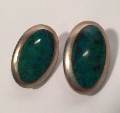 Turquoise .925 Sterling Siver Earrings Oval TS-122 Mexico Vintage Blue Green