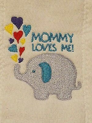 Baby Personalized Burp Cloth Elephant & Mommy Loves Me