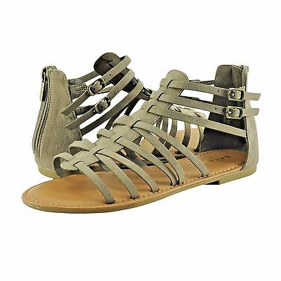 1727b9037f8 Women s Shoe Bamboo Seashore 84V Zip Up Strappy Gladiator Sandals Taupe   New