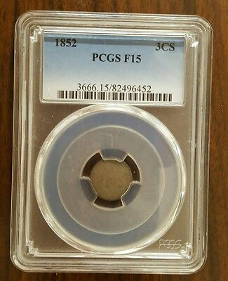 1853 PCGS F15  Silver 3 Cent COIN