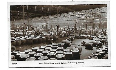 DUBLIN Guiness Brewery Cask Filling Early RP Postcard Beer Brewery Social Hist