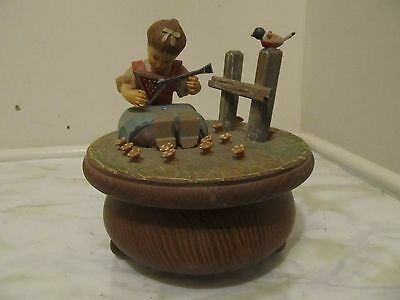 Thorens Hand Carved Music Box W/ Tags-Made In Switzerland