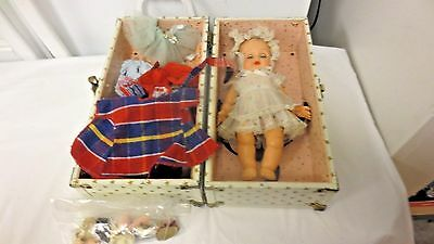 """Older 9"""" Rubber Doll-Kruger NYC Outfit-Carrying Case Trunk-Extra Clothes - AS IS"""