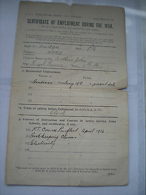 A WW1 Certificate Of Employment -Name of Arthur John Wood -Ex Royal Sussex Rgt.