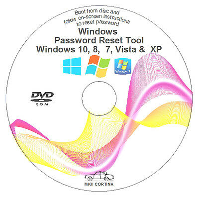 Windows Password Recovery Reset Remove Recover DVD Disc for XP, VISTA, 7, and 8