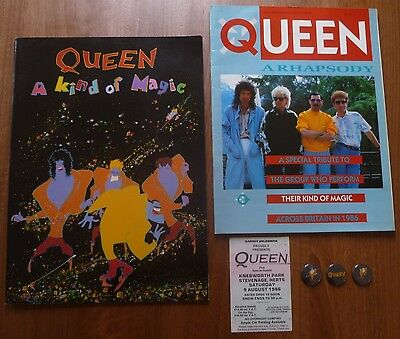 """Queen """"A Kind Of Magic"""" Programme; Rare Publication; Concert Ticket and 3 badges"""