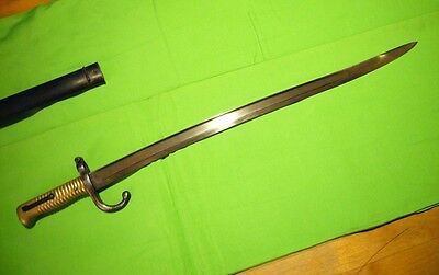 Sword bayonet, antique French model 1874 with scabbard