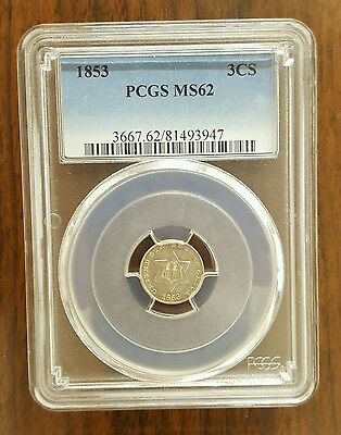 1853 THREE CENT SILVER PCGS MS 62 Coin