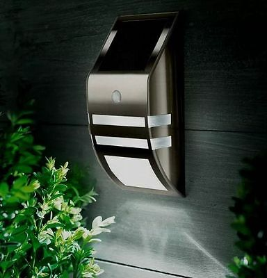 Motion Sensor Stainless Steel Wall White LED Light Outdoor Solar Powered 3 Boxes